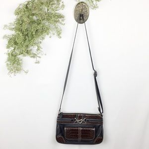 Brighton Black And Brown Croc Crossbody 🌿